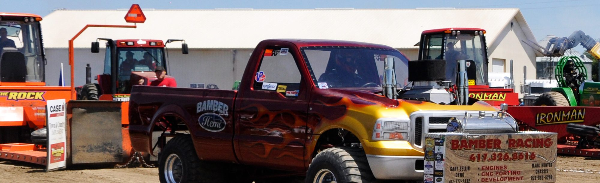 red flame truck